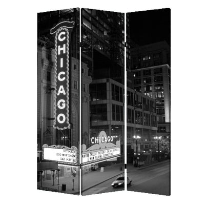 3 Panel Foldable Screen with Chicago Print Black and White - BM26559 By Casagear Home BM26559