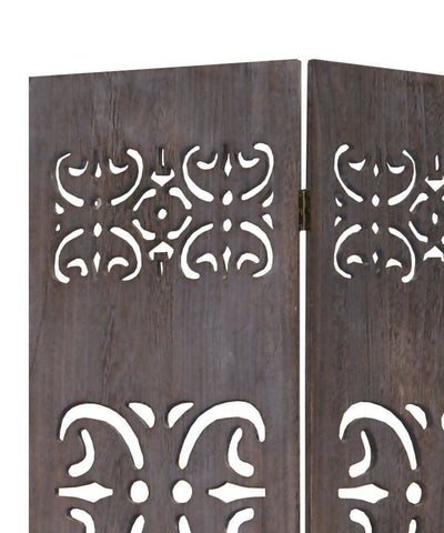 52 3 Panel Room Divider With Shinto Cut Out Design Brown By Casagear Home BM26575