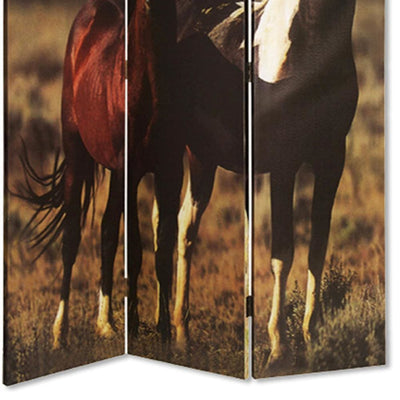 Wooden Screen with Artwork of Horses Galloping Multicolor - BM26654 By Casagear Home BM26654