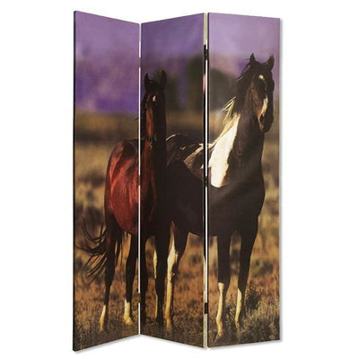 Wooden Screen with Artwork of Horses Galloping, Multicolor - BM26654 By Casagear Home