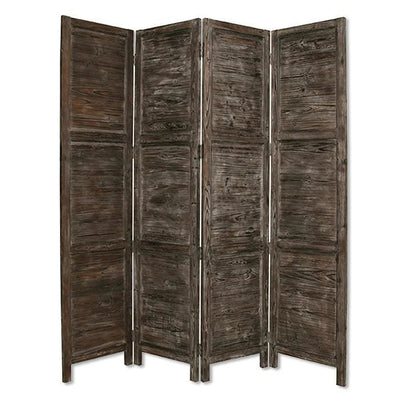 Wooden 4 Panel Foldable Floor Screen with Textured Panels, Black - BM26667 By Casagear Home