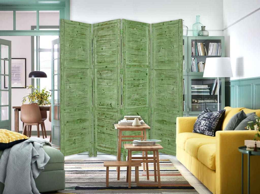 Wooden 4 Panel Foldable Floor Screen with Textured Panels, Green - BM26668 By Casagear Home