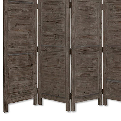 Wooden 4 Panel Foldable Floor Screen with Textured Panels Gray - BM26669 By Casagear Home BM26669