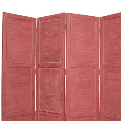 Wooden 4 Panel Foldable Floor Screen with Textured Panels Red - BM26670 By Casagear Home BM26670