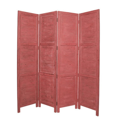 Wooden 4 Panel Foldable Floor Screen with Textured Panels, Red - BM26670 By Casagear Home