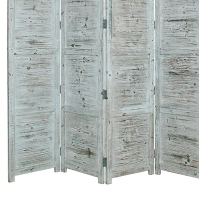 Wooden 4 Panel Screen with Textured Panels and Scrolled Details White - BM26673 By Casagear Home BM26673
