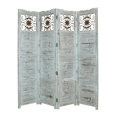 Wooden 4 Panel Screen with Textured Panels and Scrolled Details, White - BM26673 By Casagear Home