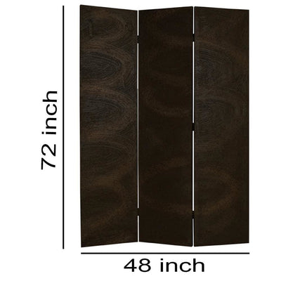 Foldable 3 Panel Canvas Room Divider with Swirl Details Dark Brown - BM26687 By Casagear Home BM26687