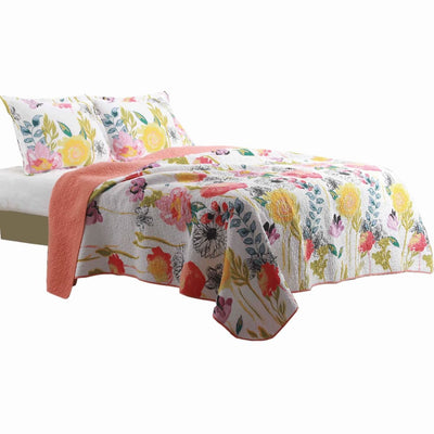 3 Piece Cotton Full Size Quilt Set with Stencil Flower Print, Multicolor By Casagear Home