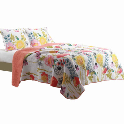 3 Piece Cotton King Size Quilt Set with Stencil Flower Print, Multicolor By Casagear Home