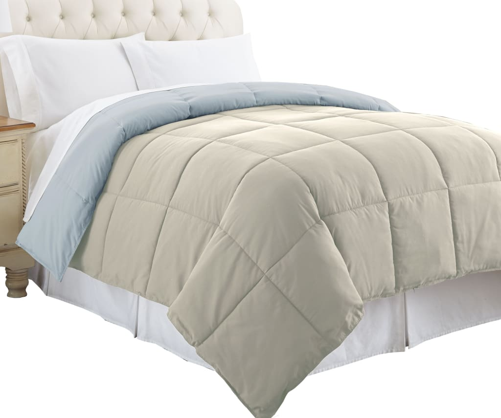 Genoa King Size Box Quilted Reversible Comforter By Casagear Home, Gray and Blue
