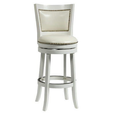 Nailhead Trim Round Leatherette Barstool with Flared Legs White By Casagear Home BM61371