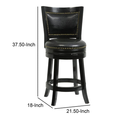 Nailhead Trim Round Leatherette Counter Stool with Flared Legs Black By Casagear Home BM61372