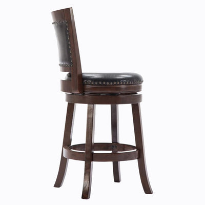 Nailhead Round Leatherette Counter Stool with Flared Leg Brown and Black By Casagear Home BM61374