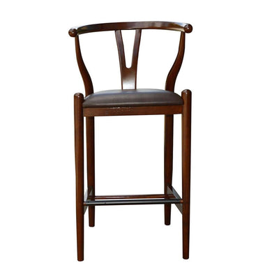 Wooden Fiddle Back Barstool with Leatherette Seating Walnut Brown - BM61428 By Casagear Home BM61428