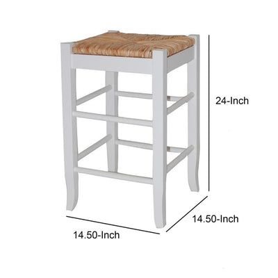 Square Wooden Frame Counter Stool with Hand Woven Rush White and Brown By Casagear Home BM61433