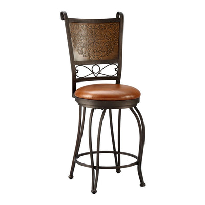 24 Inch Metal Counter Stool with Leatherette Padded Seat Bronze and Brown BM75791