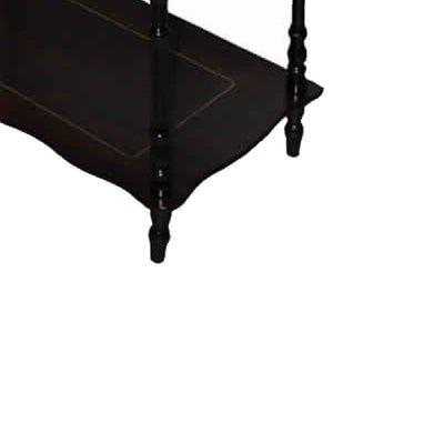 19 3-Tier Wooden Shelves with Scalloped Edges in Cherry Brown by Casagear Home BM95308