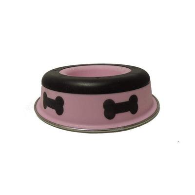 Slow Feeder Spill Proof Pet Bowl with Rubber Base and Bone Design Pink and Black BNC-10011