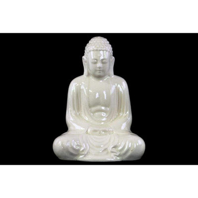 Ceramic Meditating Buddha Figurine With Rounded Ushnisha, White-22138