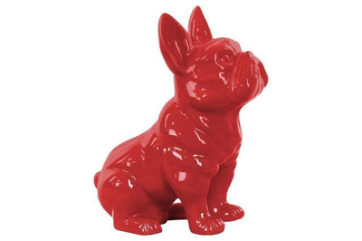 Sitting French Bulldog Figurine with Pricked Ears - Red - Benzara