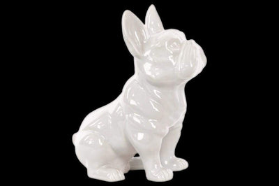 Ceramic Sitting French Bulldog Figurine with Pricked Ears, Glossy White-38484