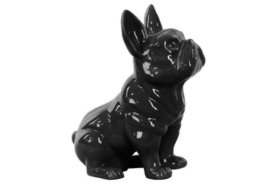 Sitting French Bulldog Figurine with Pricked Ears - Black - Benzara