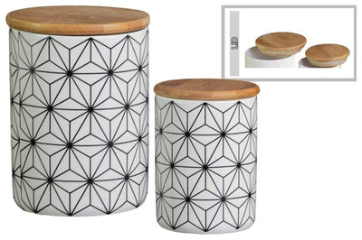 Geometric patterned Canister With Bamboo Lid, Set of 2, White-50925