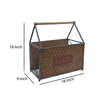 Wood and Metal Frame Basket with Handle and Typography Brown and Gray C554-FHB002
