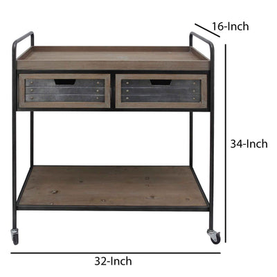 Caster Supported 2 Drawer Wood and Metal Rolling Cart Brown and Black C554-FHB004