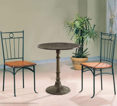 Round Transitional MDF and Metal Bistro Dining Table, Bronze