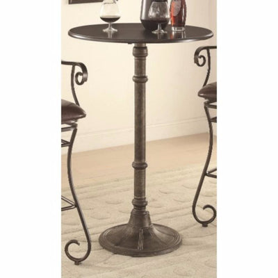 Round Industrial Metal Counter Height Table, Black By Coaster