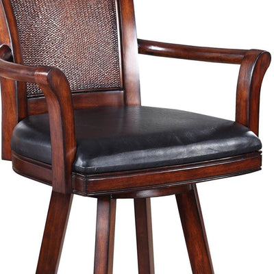 Traditional Bar Stool With Leather Seat Brown By Coaster CCA-100174