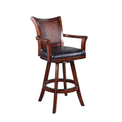 Traditional Bar Stool With Leather Seat, Brown By Coaster