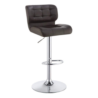 Modern Adjustable Swivel Metal Bar Stool, Brown And Silver ,Set of 2