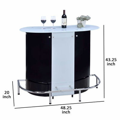 Contemporary Bar Unit With Frosted Glass Top White And Black CCA-100654