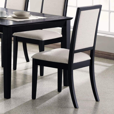 Wooden Dining Side Chair With Cream Upholstered seat And Back, Black, Set of 2