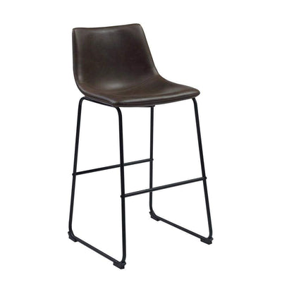 Casual Contoured Bar Height Stool, Brown, Set Of 2
