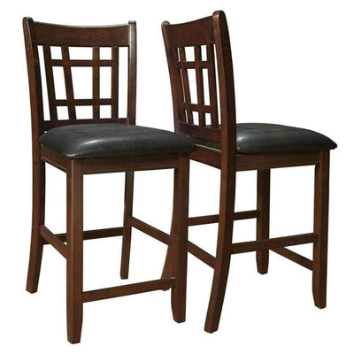 "Lattice Back 24"" Wooden Counter Height Chair with Leatherette Seat, Set of 2, Brown and Black"