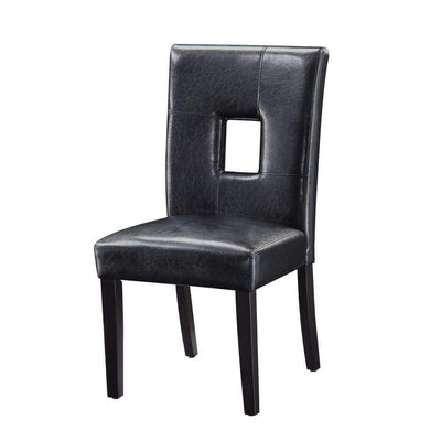Contemporary Dining Side Chair With Upholstered Seat And Back, Black, Set Of 2
