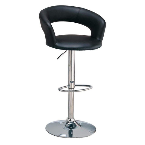 Contemporary Faux Leather Bar Stool, Black-Coaster