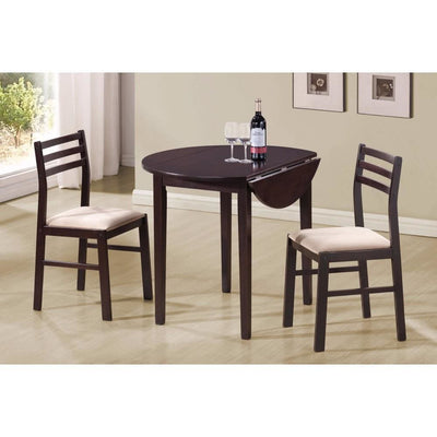 3 Piece Dining Set with Drop Leaf Table, Brown By Coaster