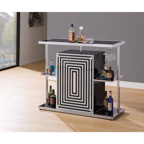 Contemporary Bar Unit with Wine Glass Storage, White And Black