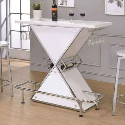 Contemporary Bar Unit  with metal frame, White