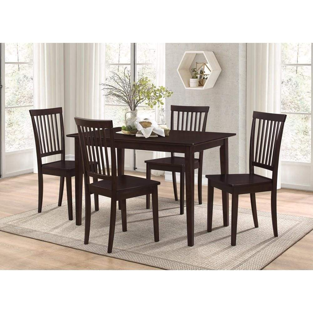 Sophisticated And Sturdy 5 Piece Wooden Dining Set, Brown