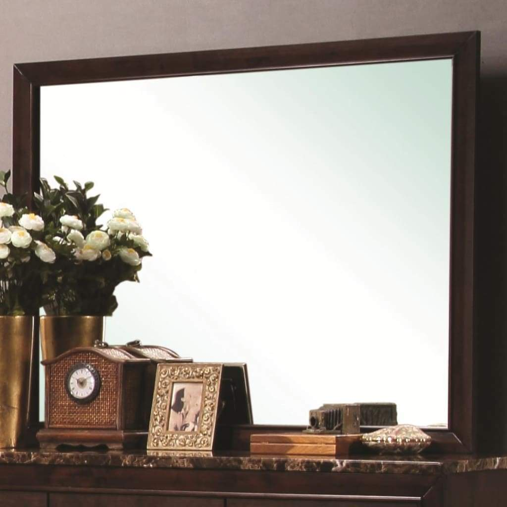. Contemporary Landscape Mirror With Wooden Frame  cappuccino Brown