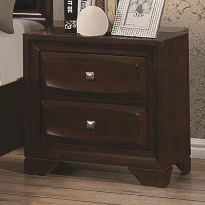 Wooden Nightstand with Two Spacious Beveled Front Drawers, Dark Brown