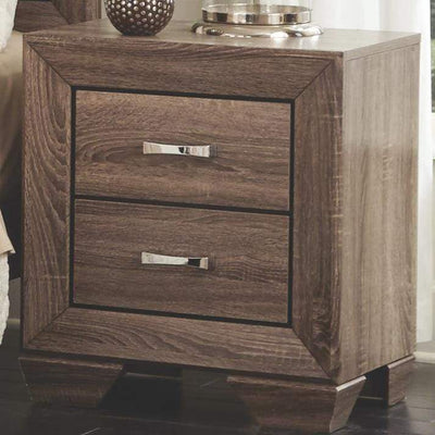 Transitional Style Wooden Nightstand with Two Drawers and Tapered Feet, Brown