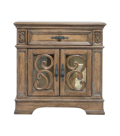 Wooden Nightstand with Intricate Carved Designs, Brown