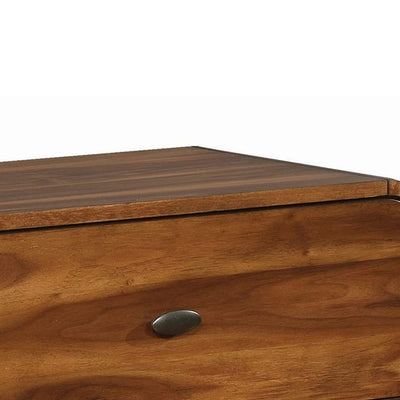 Wooden Nightstand with 2 Drawers Dark Walnut Brown CCA-205132